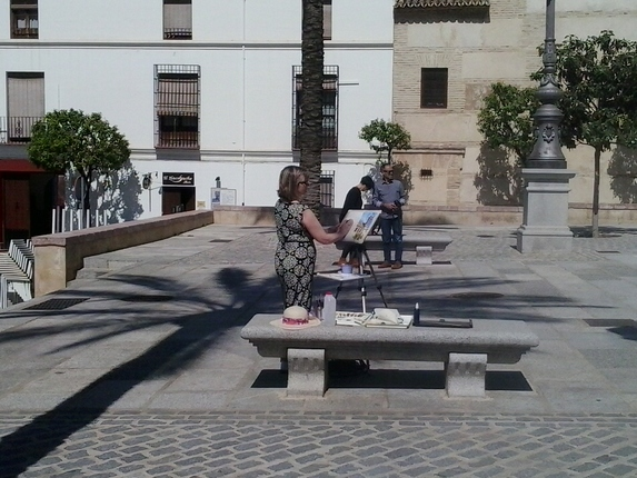 Painting in the plaza in Antequera
